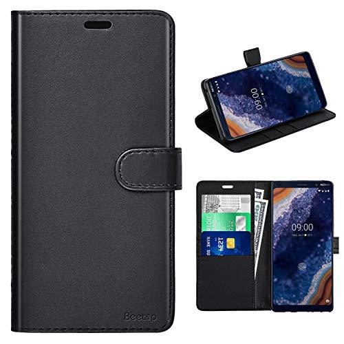Beetop Kompatibel Mit Nokia 9 Pureview Hülle Lederhülle Handyhülle Schutzhülle Ultradünn Etui PU Tasche Leder Flip Case Cover [Standfunktion] mit Kartenfach für Nokia 9 Pureview