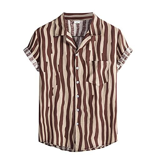 riou Camiseta de Manga Corta Hombre 2021 Camiseta Verano Camisas Casual Suelto Polo Shirt Regular Camiseta T-Shirt con Botones