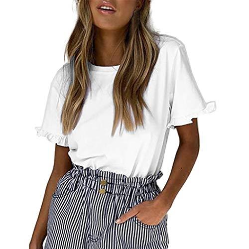 TOPKEAL Top Solid Lotus Leaf Edge O-Neck Short Sleeved – Camiseta de Verano Elegante para Mujer Blanco XXL