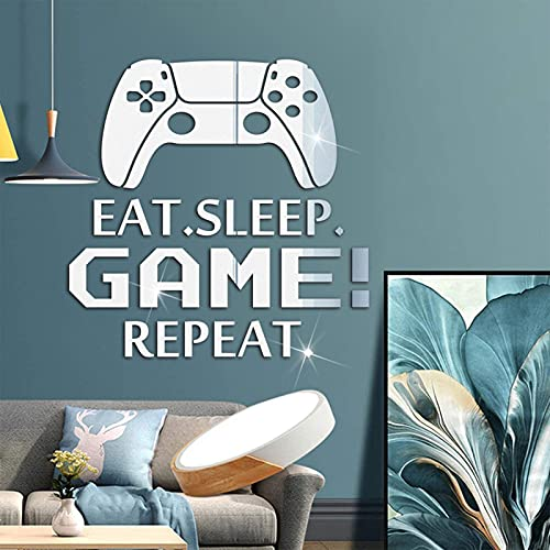 3D Removable Acrylic Mirror Wall Decals, FLMOUTN Creative DIY Eat Sleep Repeat Game Mirror Surface Wall Art Stickers for Boys Girls Video Game Room Living Room