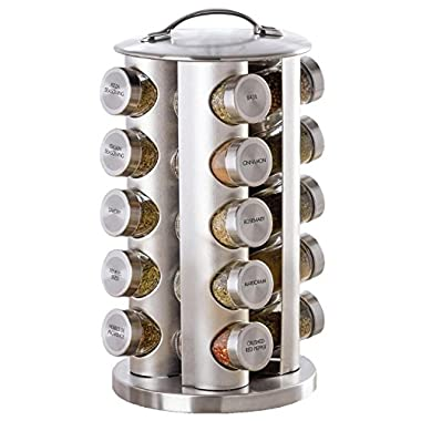 Kamenstein 20-Jar Revolving Spice Tower with Free Spice Refills (Stainless Steel Jars and Handle)