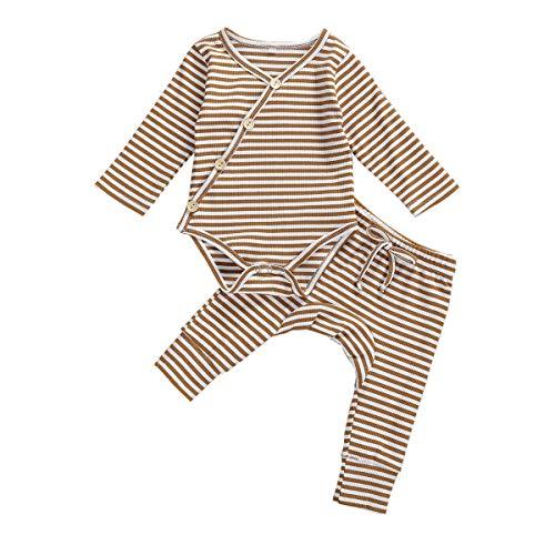 Newborn Unisex Baby Organic Cotton Kimono Onesies+Striped Pants-Basic Plain Rib Stitch Knitted Outfits Set (Nude&White Stripe, 0-3 Months)
