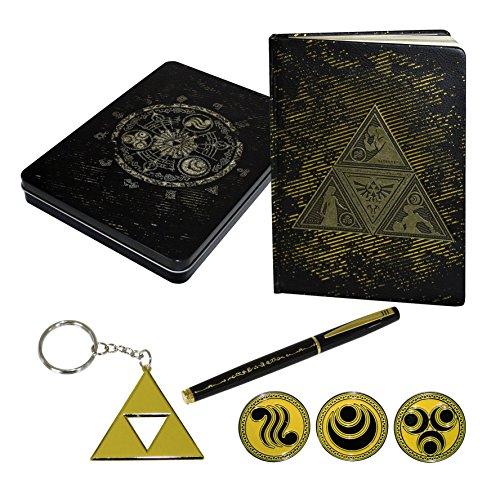 The Legend of Zelda Schreibwaren 7 tlg. Set - 1x Notizbuch   1x Schlüsselanhänger   1x Füller   3x Abzeichen   1x Metallschachtel