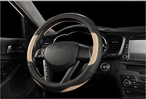 Noir/&Rouge ECLEAR Housse de Volant Universelle en Cuir de Voiture 38 cm//15 Avec Rev/êtement Respirant et Antid/érapant Pour Voiture Van SUV Camion