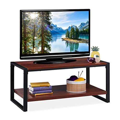Relaxdays salontafel, tv-tafel voor woonkamer, 2 planken, plat, houtlook, televisietafel, h x b x d: 45 x 100 x 55 cm, roodbruin, particle board, metaal, 45 x 100 x 55 cm