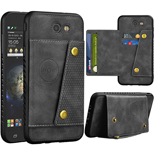 NJJEX Galaxy J7 Sky Pro Wallet Case, for Galaxy J7 V /J7 Prime/J7 Perx Case, Leather ID Credit Card Slot/Holder Kickstand Snap Buttons Clousure with TPU Frame Case for Samsung Galaxy J7 2017 [Grey]