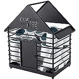 Cápsula de café con forma de casa, cestas de almacenamiento, organizador de huevos de frutas, para cafetería, cocina, oficina, Tearoom negro (color: negro)