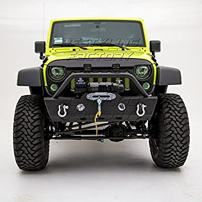 Restyling Factory 07-16 Jeep Wrangler JK Stubby Front Bumper with OE Fog Light Hole and Winch Mount Plate Built In - Black Textured