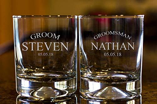 DKISEE Vasos de whisky personalizados, vasos de whisky grabados, vasos de whisky de novio, vasos escocés, vasos de whisky, vasos de whisky, 325 ml de grosor inferior transparente de vino, juego de 2