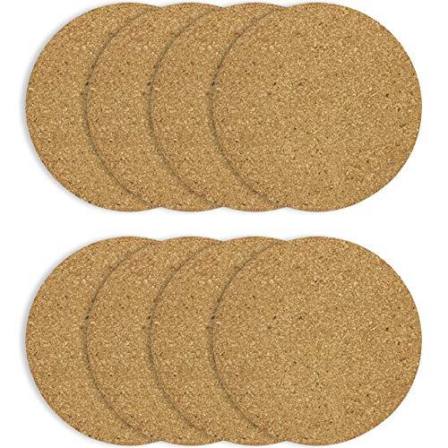 COM-FOUR® 8x Platillo de corcho redondo - Platillo redondo para ollas, sartenes, cocina y hogar - Bajoplatos resistente al calor, Ø 19 x 0,5 cm