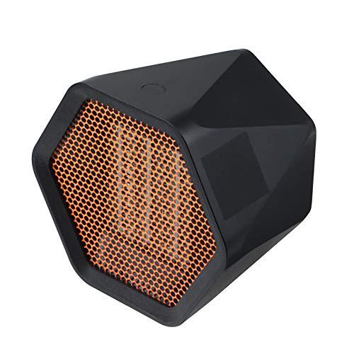 Andifany Ventilador de Calentador EléCtrico PortáTil de 600 W Radiador de Estufa de CalefaccióN de CeráMica Hexagonal para Calentador de Oficina en Casa Negro Enchufe de la UE