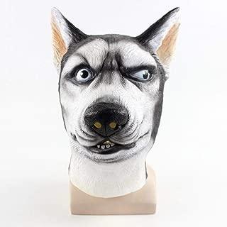 Jeash Cosplay Siberian Husky Dog Mask Creepy Animal Head Latex Mask for Halloween Prop Masquerade Party