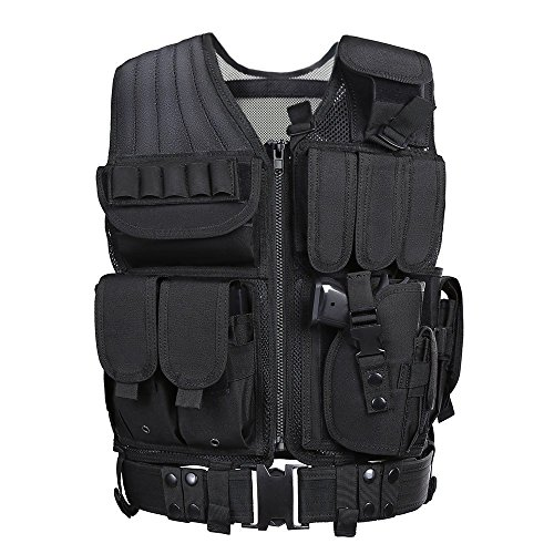 yakeda schwarz Tactical Airsoft Paintball Combat Militär SWAT Assault Armee Shooting Jagd Outdoor MOLLE Polizei Weste mit Pistolenholster