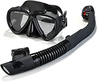 FinaTider Snorkel Mask Anti-Fog Snorkel Set with Anti-Leak Foldable Snorkeling Gear for Adults Free Breathing Snorkel Kit ...