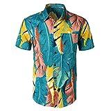 Miss Fortan Maglietta da Uomo Primavera Ed Estate Top con Stampa Hawaiana Taglie Forti T-Shirt Manica Corta Camicia Camicetta Pullover M-3Xl