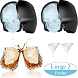 Large 3D Skull Ice Mold Large Silicone Skull Ice Trays with Silicone Funnels Skull Sugar Mold Candy Chocolate Fondant Mold for Baking Party Favors (2 Pieces)