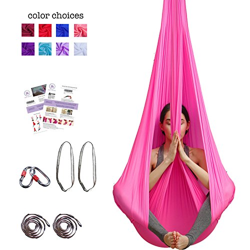 Buy Cheap Aum Active Aerial Yoga Hammock - Include Aerial Silk Fabric, Carabiners, Extension Straps,...
