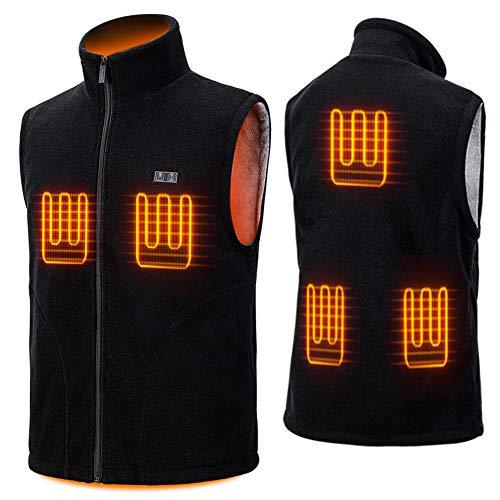 LEAPSEE Heated Vest for Men Polar Fleece with Battery Pack Lightweight USB Rechargeble Waistcoat