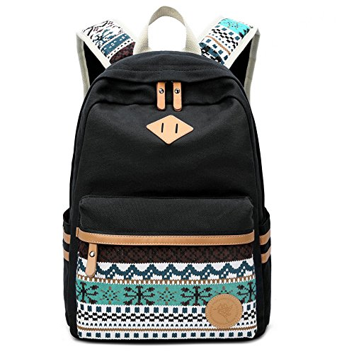 School Bag for Teenage Girls FYHAP Cute Polka Dot Lace Students Backpack Waterproof Casual Canvas Rucksack for 14'-15' Laptop (32 x 14 x 42 cm)