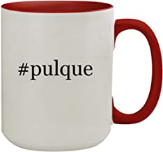 #pulque - 15oz Hashtag Colored Inner & Handle Ceramic Coffee Mug, Red