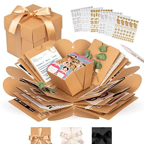 weddlyn® – Überraschungsbox – hochwertiges Papier & Verarbeitung – Explosionsbox mit modernen Stickern und Stift – braun