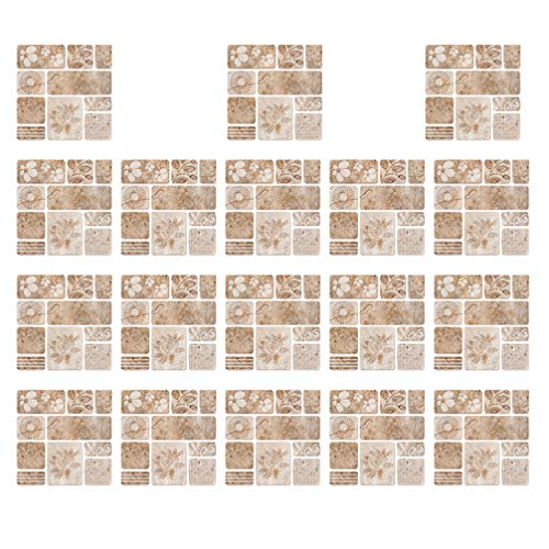 GARNECK 18 PCS Mattonelle di Mosaico Sticker Modello di Loto Buccia E Stick Tile Backsplash Smontabile Autoadesivo Decorativo Decalcomanie della Parete per La Cucina Bagno