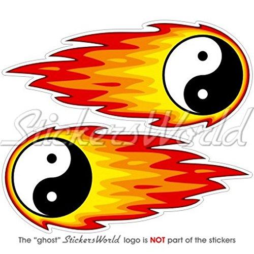 Yin Yang Fire Feu Fireball 12,7 cm (125 mm) Bumper en vinyle autocollants, Stickers x 2