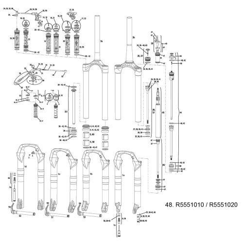 RockShox Dual Position Air Spring Montage Revelation 11–12(mit Top Cap und Knauf)–26/73,7cm, 140mm