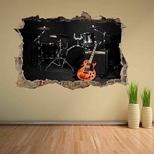 Wandsticker,Musikinstrumente Schlagzeug Gitarre Konzertbühne,Wanddekoration Für Schlafzimmer Wohnzimmer Wandtattoo Kunst Diy Vinyl Abnehmbare Wandaufkleber 50X70 Cm/19.7X27.6 Zoll.