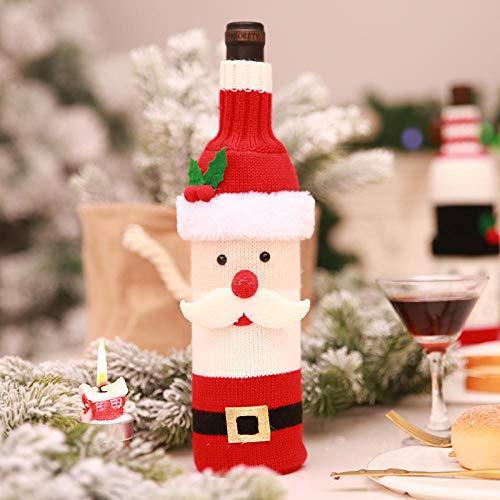 BIZADA Juego de Botellas navideñas 3 Piezas Combinación Informal Tejido Reutilizable Decoración navideña para Bar Reunión Familiar