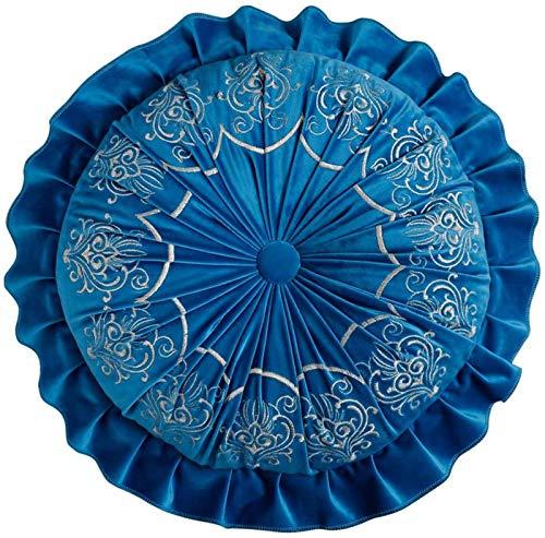 Cojín Silla Bordado Estilo Europeo Sofá Color Sólido Cojín Calabaza Decoración del Hogar,Blue1