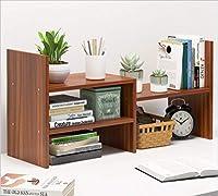 Risareyi デスク上置棚 卓上収納ケース オフィス収納 机上収納ボックス 本立て 小物入れ 卓上収納 仕切り デスク上置き棚 書類整理 机上用品 オフィス置棚 おやつ置棚 (Color : 褐色, Size : 3)