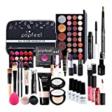 Knowledgi Professional Makeup Set & Portable Travel Makeup Organiser Box,All in One Eyeshadows Highlighter Lipstick Blush Brushes etc Ideal Vanity