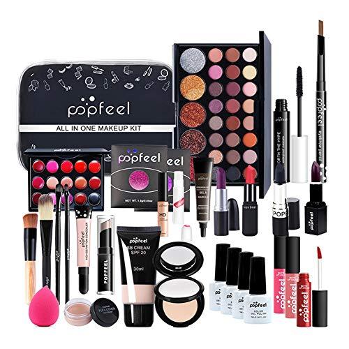 CHENSTAR All-in-One Make up Paket Mehrzweck Make-up-Kit Make-up Essential Starter-Kit Lipgloss Blush Brush Lidschatten-Palette Hochpigmentierte Kosmetik-Palette