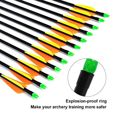 ANTSIR 12Pcs/lot Fiberglass Arrow 30'' inch Archery Hunting Nock Proof Fiberglass Arrow Steel Point 30-60lbs For Recuve & Compound Bow