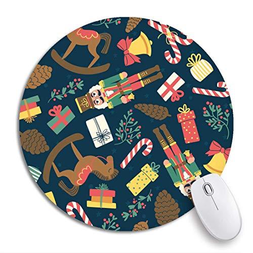 HENTIN Alfombrilla de ratón Redonda Cascanueces Patrón de Juguetes de Navidad Campana Bastón de Caramelo Dibujo Dibujado Base de Goma Antideslizante Alfombrilla de ratón