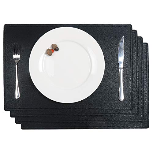 SHACOS PU Faux Leather Placemats Set of 4 Waterproof Table Mats 18x12 inch Heat Resistant Wipe Clean Place Mats (4, Black)
