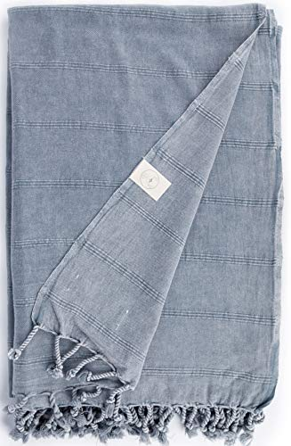 Bersuse Toalla turca Troy XXL - 100% algodón, Color Gris