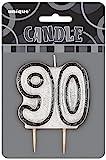 "3.5"" Black Sparkle 90th Birthday Glitter Candle"