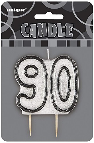 "3.5"" Black Sparkle 90th Birthday Glitter Candle"