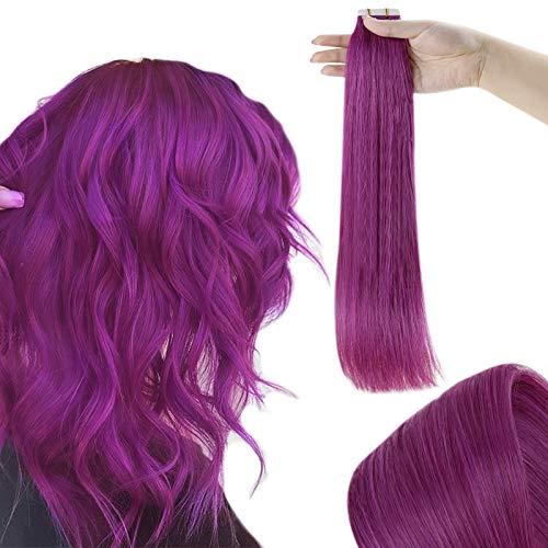 RUNATURE Extension Adhesive Cheveux Humains Violets 22 Pouces 55cm Couleur Violet Adhesifs Extensions Tapes 25g 10 Pièces Tape Extension Cheveux Naturel