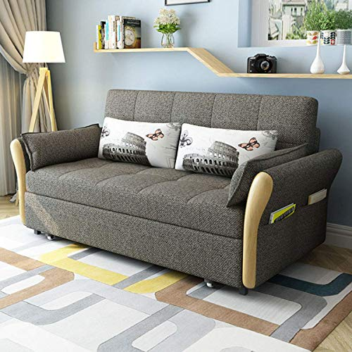 Home Equipment Nordic Pull Out Couch Sofa Bed Loveseat Sleeper Sofa Multifunctional Folding Living Room Storage Sofa Bed Soft And Comfortable Fabric Lazy Convertible Sofa Furniture Decoration Blue