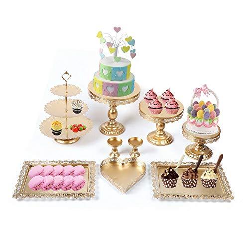 Fetcoi 9 Stück Metal Tortenständer Kuchenständer Set Vintage Tortenständer Gold für Cupcake Hochzeitstorte Tortenplatte Party Deko