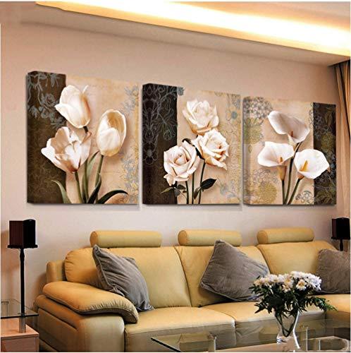 liafa 3 Stück Tulip Abstract Flowers Paintings Gemälde Malen nach Zahlen DIY volle MosaikmusterStickerei