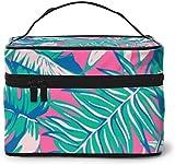Tropical Leaves Rainbow (4) Diseño grande bolsa de maquillaje para mujer, portátil, organizador de viaje con cremallera de malla cepillo de bolsillo con asa chica