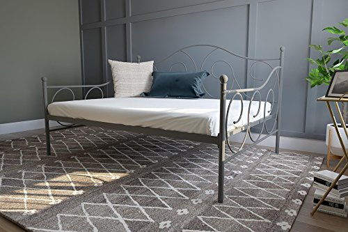 DHP Victoria Daybed, Full Size Metal Frame, Multi-functional Furniture, Pewter