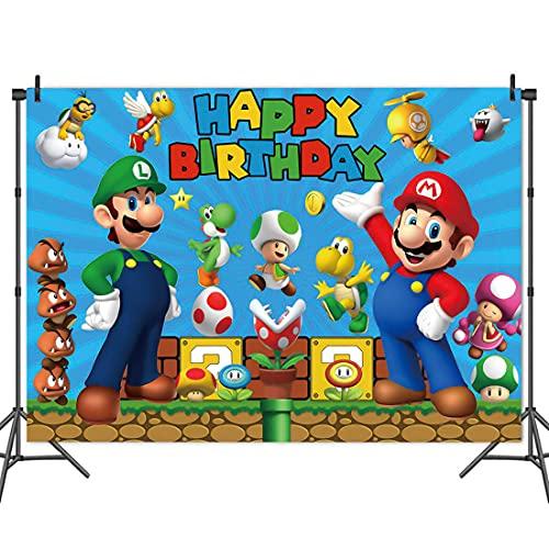 Super Mario Fotografie Hintergrund Mario Bros Geburtstagsfeier Party Decoration Photo Backdrop Cake Table Decoration Requisiten für Weihnachten Fotografie Baby Shower