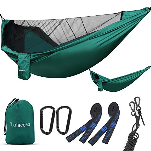 Tolaccea Camping Hammock with Net Anti-Mosquito Double &Single Lightweight Portable Camping Gear for Backpacking Travel Beach Yard Hiking Adventures