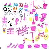 98 Psc / Set Accesorios para muñecas para niña Vestido lindo Juego de tacones altos Ropa Accesorios para muñecas Zapatos Bolsos Juego de joyas para muñeca Barbie con vestidos casuales Zapatos