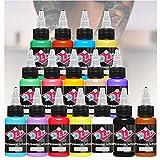 DLD Tattoo 16 Grundfarben Tattoo Ink Set Pigment Kit 1 Unze Professionelle Tattoo Supply für Tattoo Farbe Schönheit Kunstbedarf